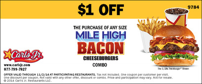 Example Coupon of $1 Off Mile High Bacon Burger Combo