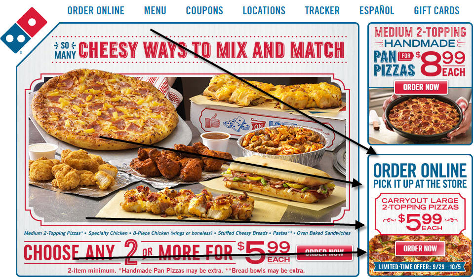 Domino's Website Screenshot $5.99 Pizza Deal