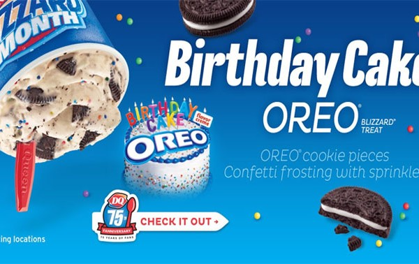 Dairy Queen January Blizzard Of The Month Birthday Cake Oreo