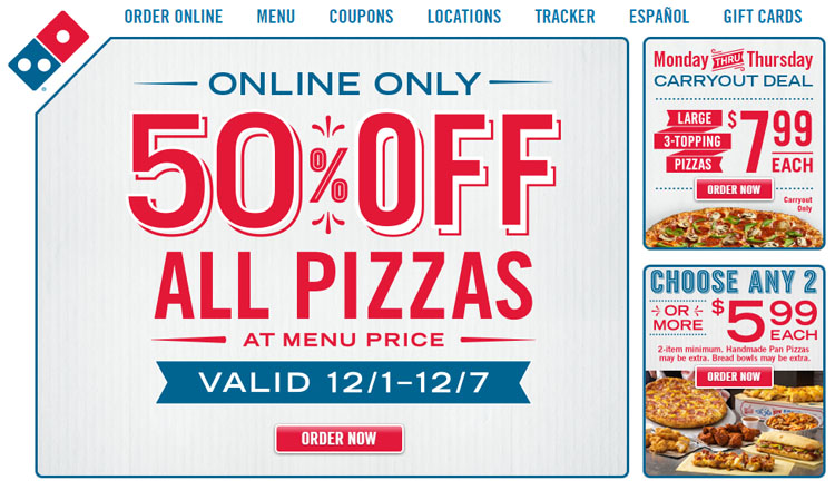 Domino discount coupon