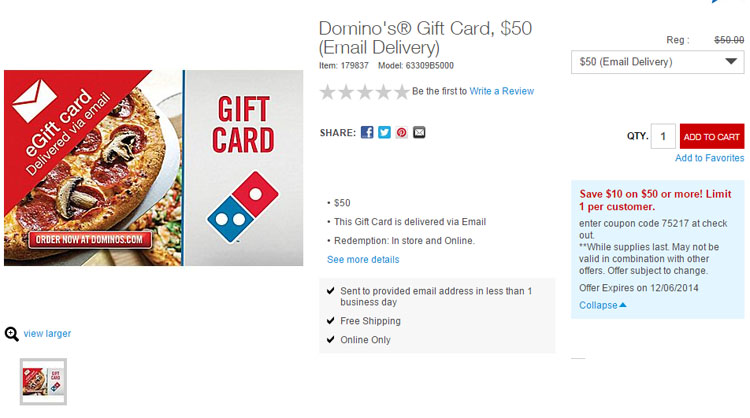 Deal Dominos Buy 50 Gift Card For 40 Fast Food Watch